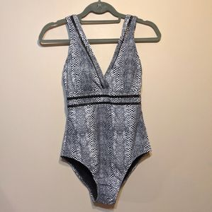 George NWT snakeskin black one piece swimsuit